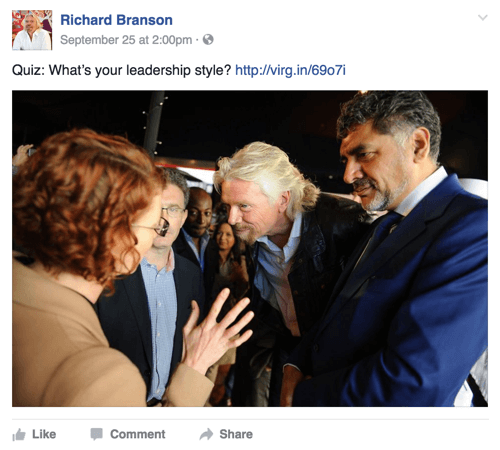 richard branson facebook post with quiz