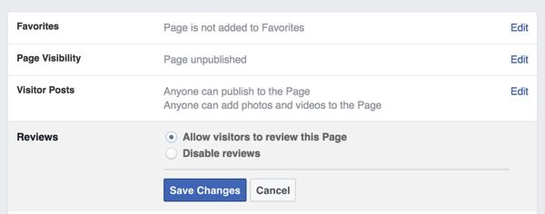 Facebook-Seite Bewertungen Einstellungen