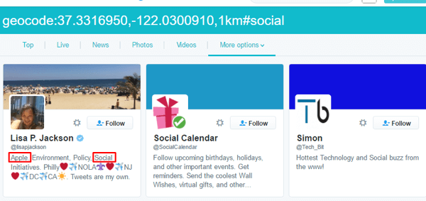 twitter geodata and keyword search