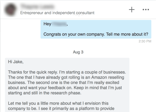 linkedin personal message example