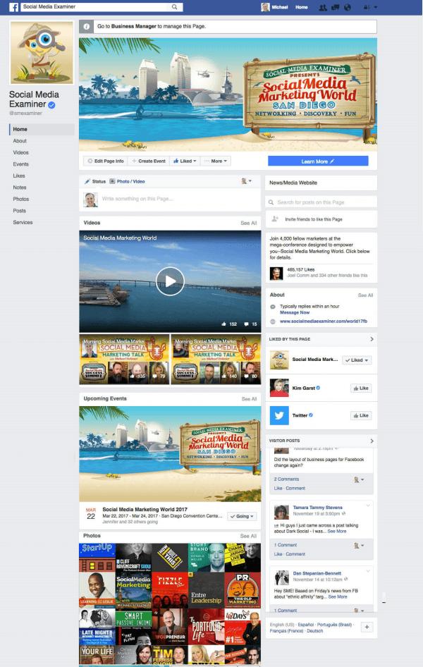 Social Media Examiner hat die Einführung eines neuen Facebook-Seitenlayouts für Desktop-Benutzer zur Kenntnis genommen.