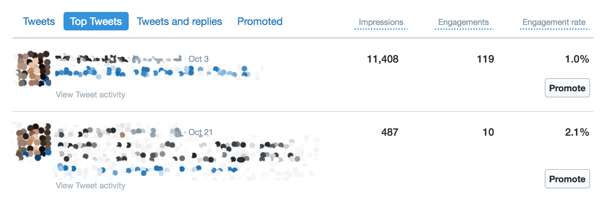 Use the Top Tweets tab of the Twitter Analytics dashboard to view your engagement activity.