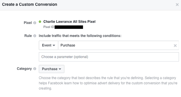 Add custom parameters to your conversion rule.