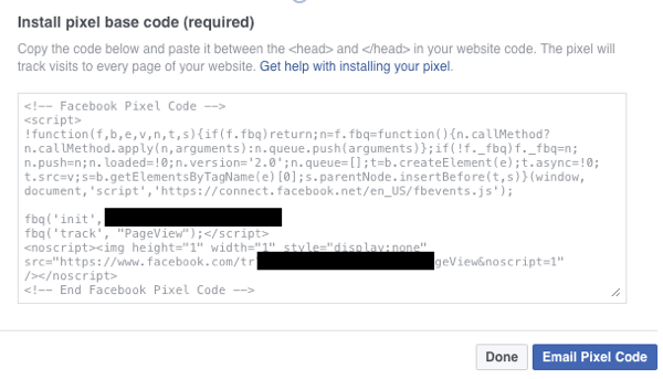 Make sure you have the Facebook pixel base code installed on your site.