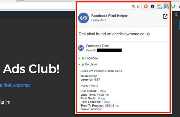 Test standard event tracking with the Facebook Pixel Helper extension.