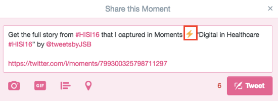 A lightning bolt icon in a tweet signifies a Twitter moment.