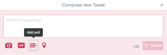 Click the Add Poll icon when you compose a new tweet.