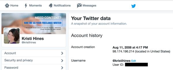 Finden Sie Ihre Benutzer-ID in Ihren Twitter-Einstellungen.