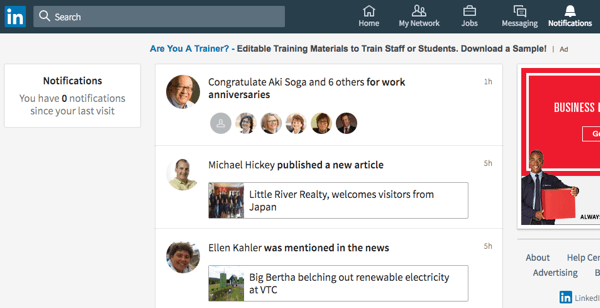 Easily review and respond to LinkedIn notifications, which are now in their own section.
