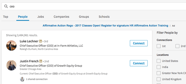 LinkedIn has changed the search functionality in the new design.