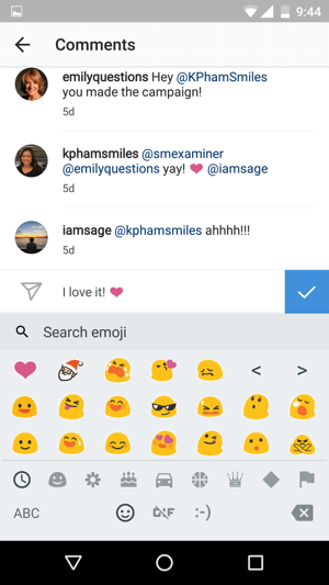 It's easy to add an emoji to an Instagram comment.