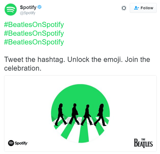 The #BeatlesOnSpotify hashtag was 4x more popular than #Beatles during the Beatles catalog launch, largely thanks to this iconic emoji.