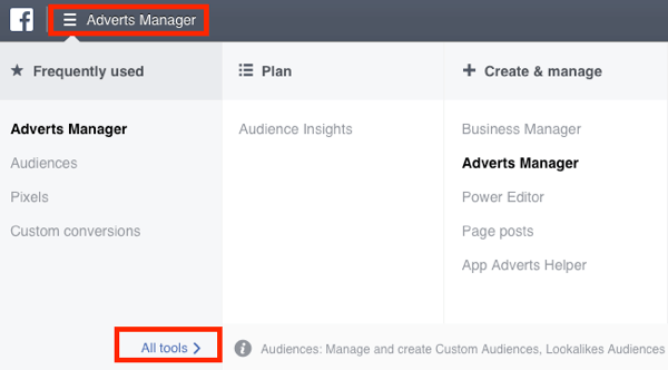 Navigate to the Audiences dashboard in your Facebook Ads Manager.