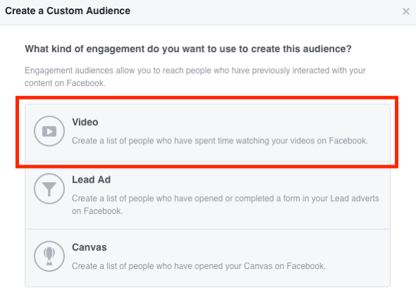 Select Video for your Facebook custom video audience.