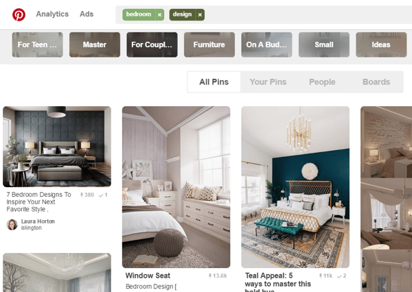 The top appearing pins on Pinterest have both repins and keywords.