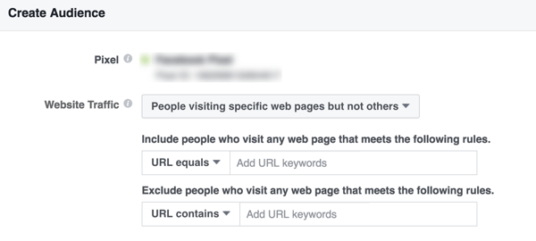 Build a Facebook custom audience of people who visit specific pages of your site.