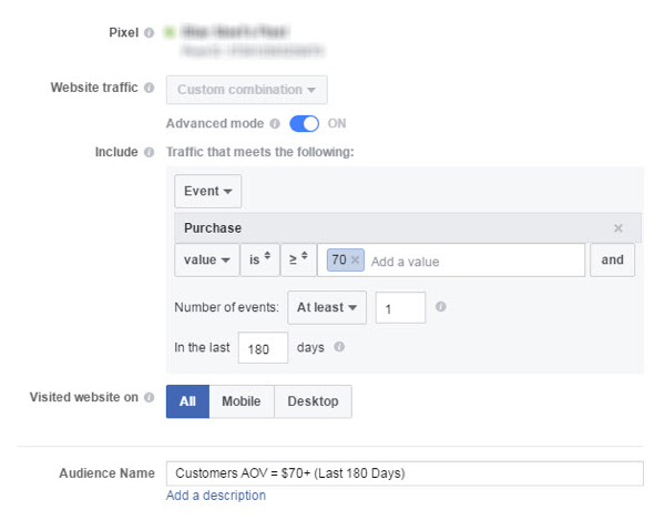You can create a Facebook custom audience of customers with a higher AOV.