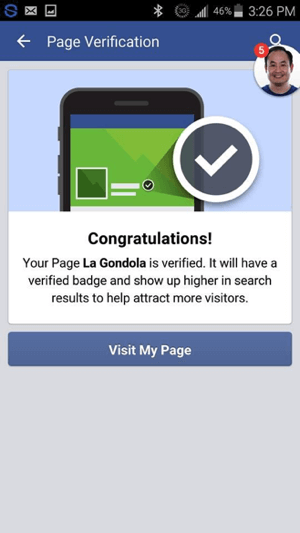 You should see a message that your Facebook page has been verified.