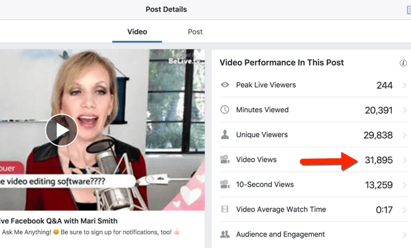 Video metrics are available for page admins when you click on the total reach or in your Insights.