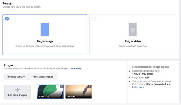 Sie können zwischen den Anzeigenformaten Einzelbild oder Einzelvideo für Instagram-Story-Anzeigen wählen.