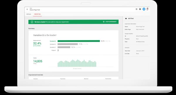 Optimizar Google es una herramienta gratuita para la optimización de la tasa de conversión.