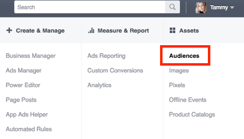 Go to the Audiences section of Facebook Ads Manager.