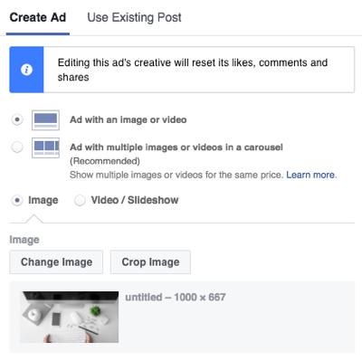 Elija el formato de su anuncio de Facebook Messenger.