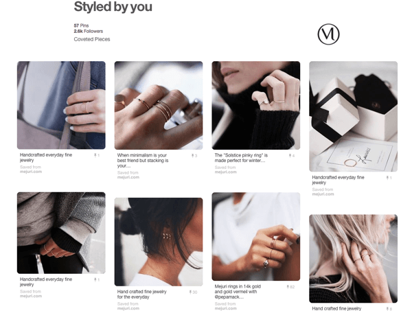 Example of a UGC board on Pinterest curated by Mejuri.