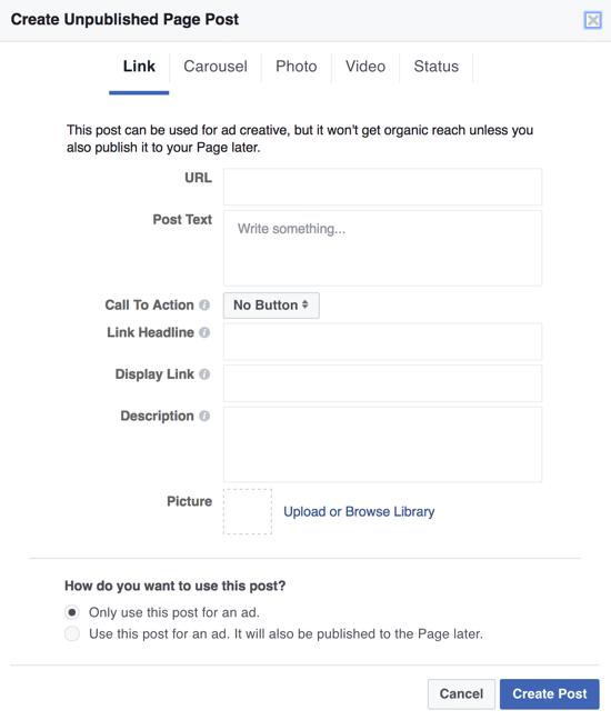 Um dunkle Facebook-Posts als Anzeigen zu erstellen, können Sie den Power Editor verwenden und Nur diesen Beitrag für eine Anzeige verwenden auswählen.