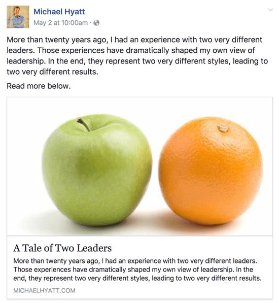 Dieser Facebook-Beitrag besteht aus weniger als 480 Zeichen, sodass der gesamte Text im Newsfeed angezeigt wird.