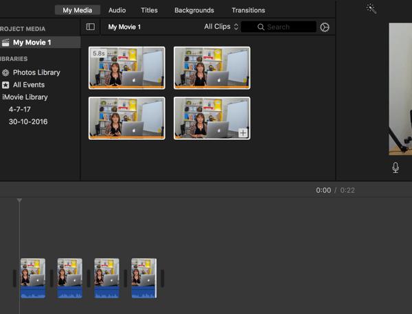 Ziehen Sie Videosegmente per Drag & Drop, um ihre Reihenfolge zu ändern.