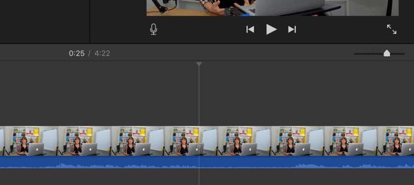 Wenn Sie Ihr Video in Segmente aufteilen, suchen Sie die Stellen, an denen sich das Audio in eine flache Linie verwandelt.
