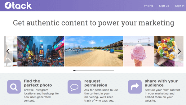 Tack allows you to source content and request permission to use it all in one location.