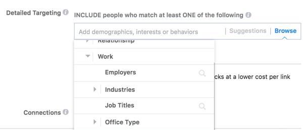 Facebook bietet detaillierte Targeting-Optionen, die auf der Arbeit Ihres Publikums basieren.