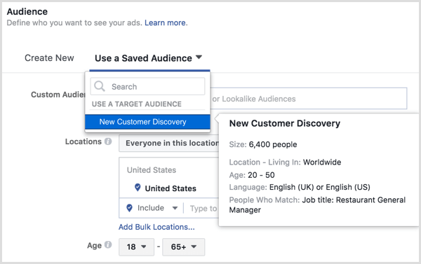Facebook ads manager choose saved audience