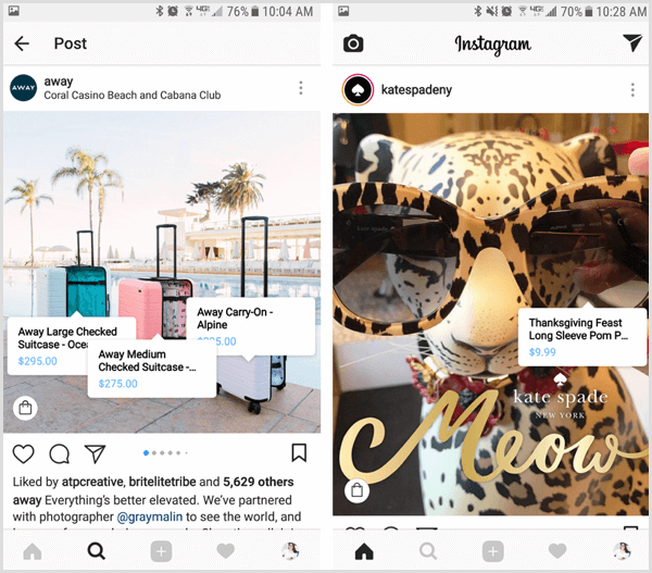 instagram shoppable post product info pop-up