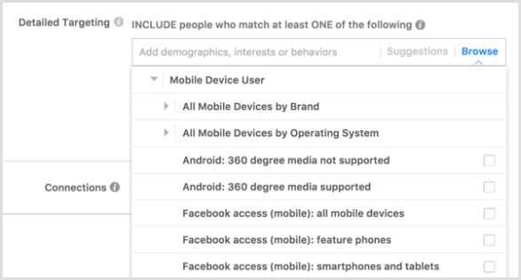 Facebook ad targeting mobile device user