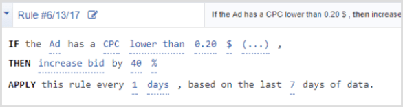 Facebook Ads Manager automated rule cpc lower than