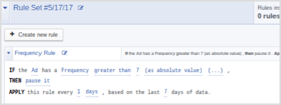 Facebook Ads Manager automated rule frequency greater than