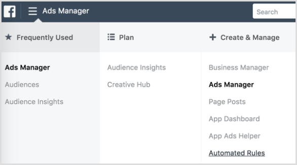 Facebook Ads Manager automated rules dashboard