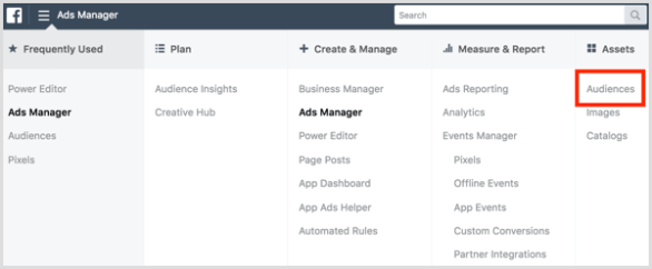 Facebook Ads Manager open Audiences dashboard