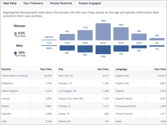 Facebook page insights people