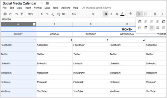 social media calendar add right border to columns