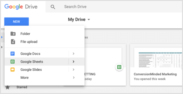 social media calendar create new Google spreadsheet