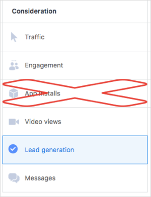 facebook video ad objectives