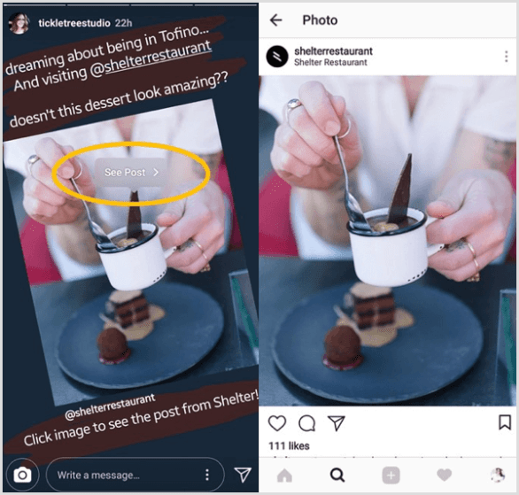 Tap on a reshared Instagram post and then tap the See Post button to go directly to the original post from that user.