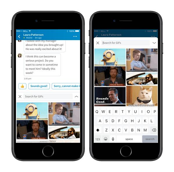 LinkedIn und Tenor von Google haben sich zusammengetan, um GIFs direkt in die Messaging-Plattform von LinkedIn zu integrieren.