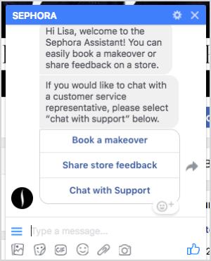 Ein Gespräch mit dem Sephora-Bot-Assistenten.