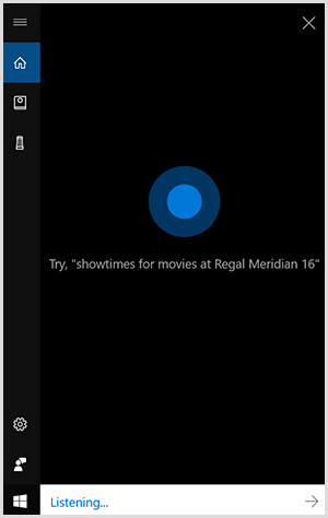 Cortana, the Windows conversational interface, is a black vertical box with a blue dot in the center. A white field at the bottom indicates a Windows device is listening.