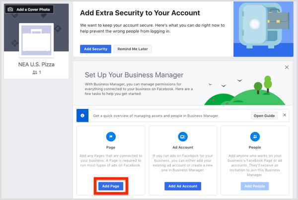 Cliquez sur Ajouter une page pour ajouter votre page Facebook au gestionnaire de l'entreprise.